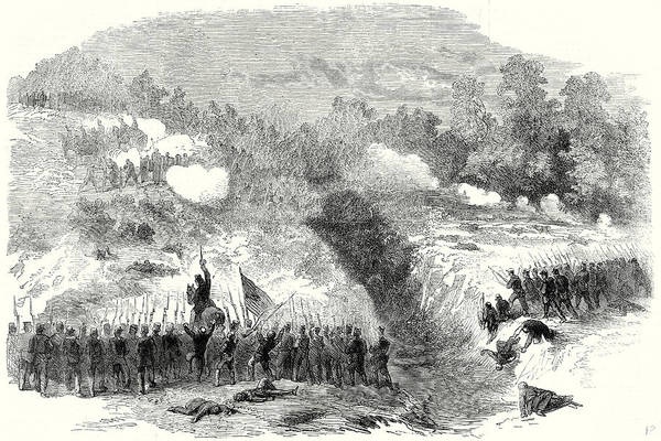 Confederate Soldier Drawing - The Civil War In America Attack On The Confederate by American School