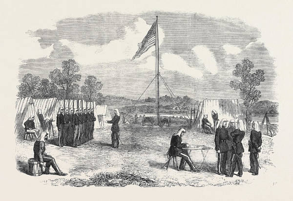Brigade Drawing - The Civil War In America My Headquarters In The Camp by American School