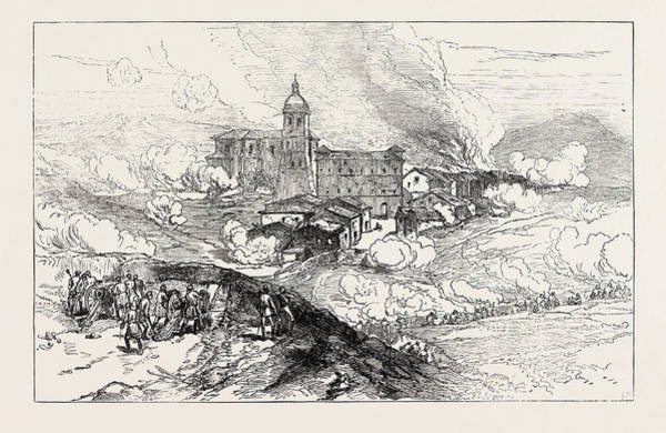 Wall Art - Drawing - The Civil War In Spain Bombardment Of Hernani by Spanish School