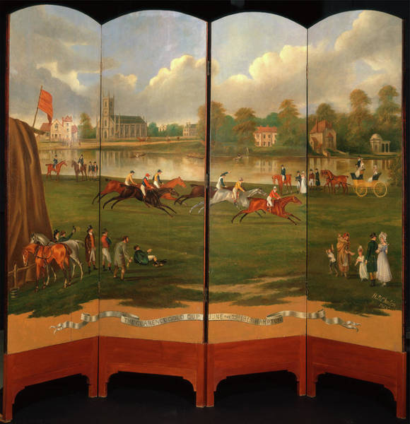 Wall Art - Painting - The Clarence Gold Cup At Hampton, London The Start by Litz Collection