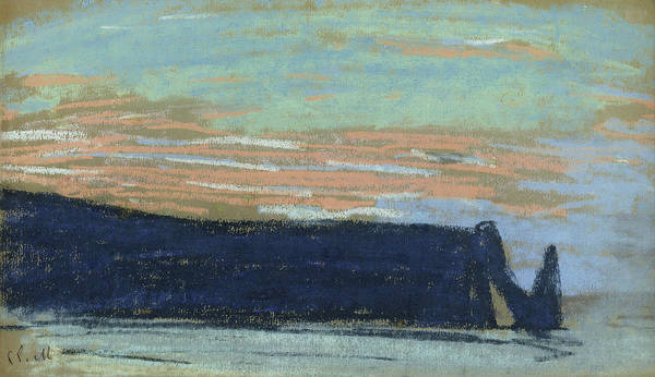 Painter Photograph - The Cliff At Etretat, C.1885 Pastel by Claude Monet