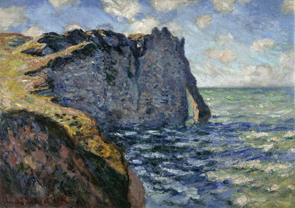 Normandy Painting - The Cliff Of Aval, Etretat, 1885 by Claude Monet