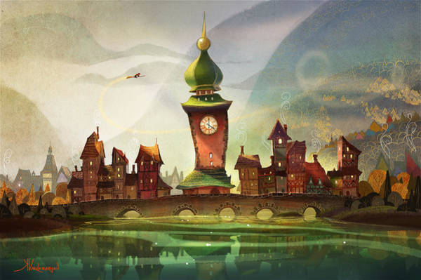 Clock Wall Art - Painting - The Clock Tower by Kristina Vardazaryan