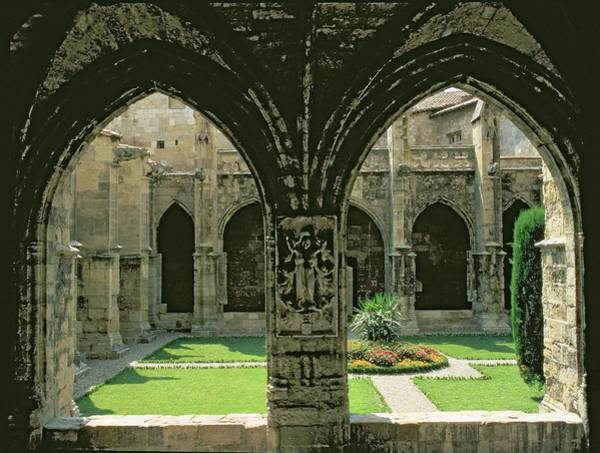 Sculpting Wall Art - Photograph - The Cloister Garden, Seen From One Of The Galleries, 1272-1340 Photo by French School