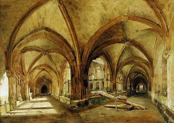 Cloister Photograph - The Cloisters Of St. Wandrille, C.1825-30 Oil On Canvas by Louis Eugene Gabriel Isabey