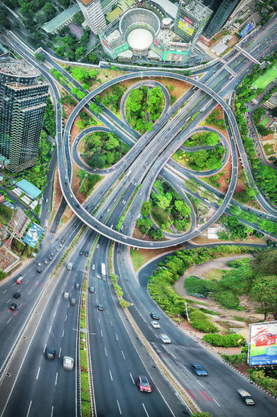 Traffic Wall Art - Photograph - The Clover Interchange (semanggi) by Abel Brata