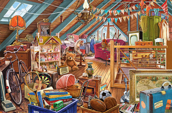 Bunting Painting - The Cluttered Attic  by MGL Meiklejohn Graphics Licensing
