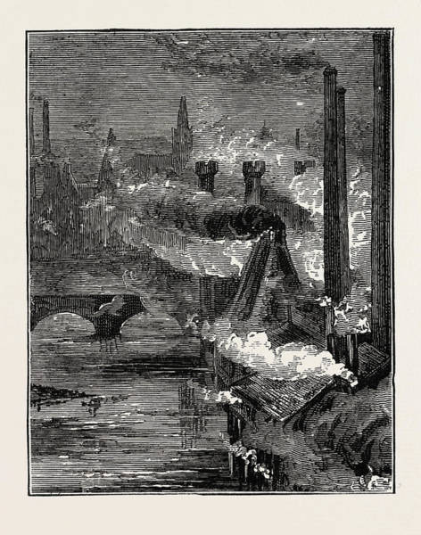 Steel Drawing - The Clyde Steel And Iron Works By Night, Uk by English School
