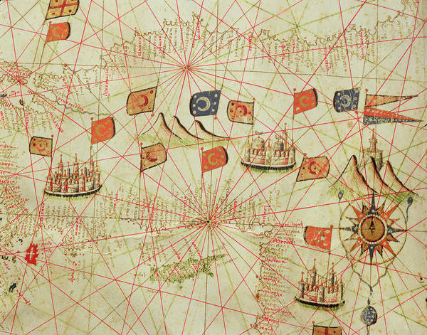 Mapping Drawing - The Coast Of Turkey And Cyprus, From A Nautical Atlas Of The Mediterranean And Middle East  by Calopodio da Candia