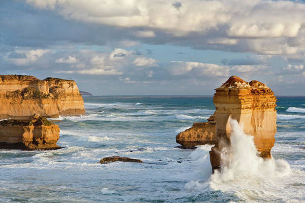 Blowhole Photograph - The Coastline Near Loch Ard Gorge by Martin Zwick