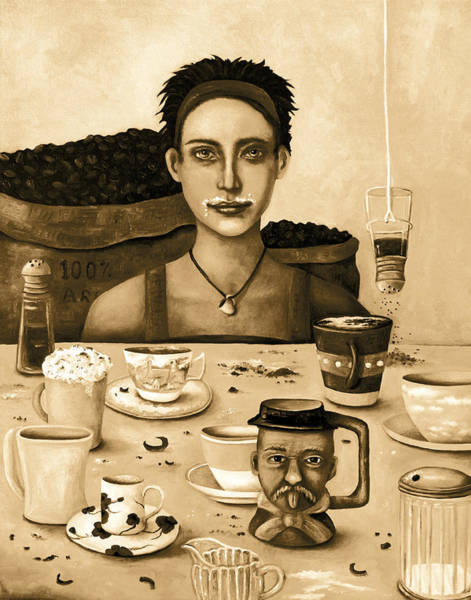 Whipped Cream Painting - The Coffee Addict In Sepia by Leah Saulnier The Painting Maniac