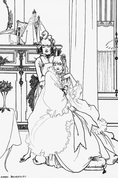 Beardsley Drawing - The Coiffing by Aubrey Beardsley