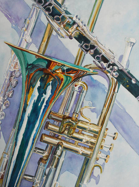 Trombone Wall Art - Painting - The Color Of Music by Jenny Armitage