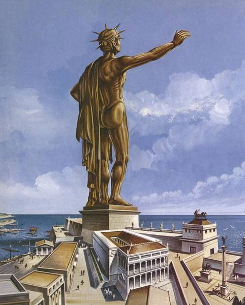 Wonders Of The World Photograph - The Colossus Of Rhodes Colour Litho by English School