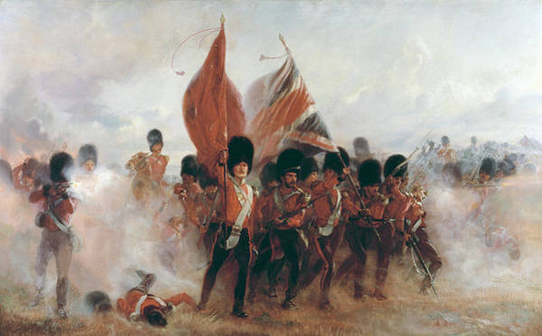 Regiment Wall Art - Painting - The Colors Advance Of The Scots Guards At The Alma by Lady Butler
