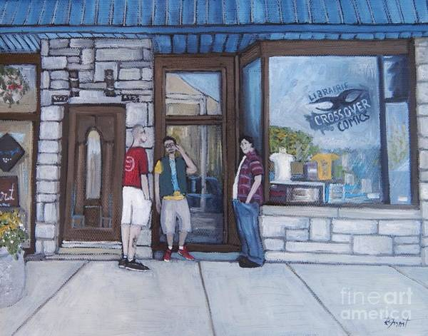 Montreal Street Scene Wall Art - Painting - The Comic Book Shop by Reb Frost