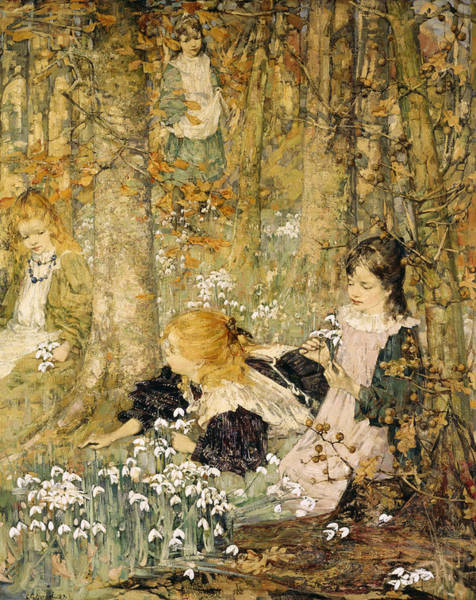 Young Boys Painting - The Coming Of Spring, 1899 by Edward Atkinson Hornel