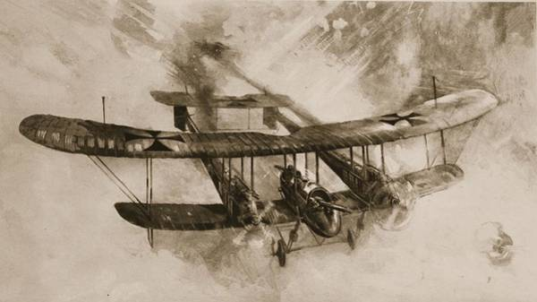 Wwi Wall Art - Drawing - German Biplane From The First World War by English School