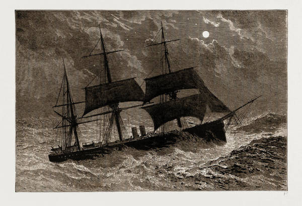 Wall Art - Drawing - The Condemned Cruiser H.m.s. Bacchante In A Gale by Litz Collection
