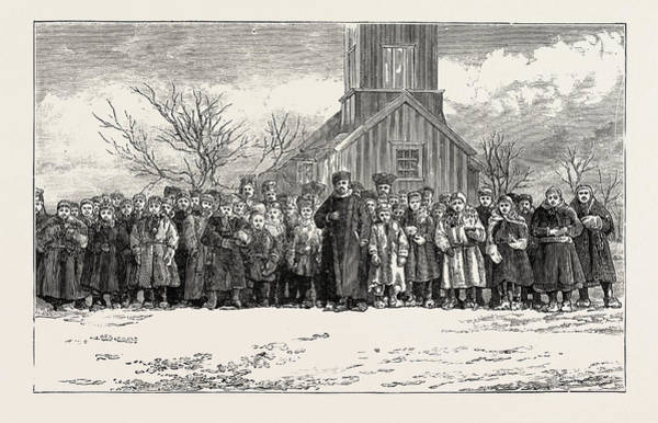 Wall Art - Drawing - The Congregation At Koutokaeino On A Sunday Morning Lapland by English School