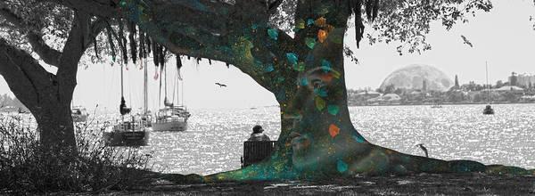 Black Shadow Digital Art - The Conscious Tree by Betsy Knapp