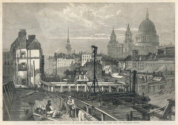 Wall Art - Drawing - The Construction Of Blackfriars by  Illustrated London News Ltd/Mar
