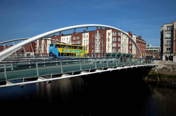 River Liffey Wall Art - Photograph - The Contemporary James Joyce Bridge - by Panoramic Images