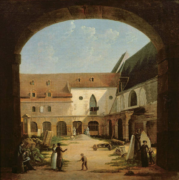 Cloister Photograph - The Convent Courtyard Of Petits-augustins In Paris, C.1818 Oil On Canvas by Etienne Bouhot