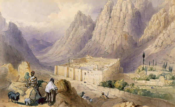 Mountain Goat Wall Art - Drawing - The Convent Of St. Catherine, Mount by William Henry Bartlett