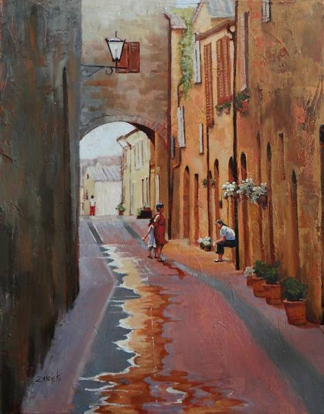 Archway Painting - The Conversation by Laura Lee Zanghetti
