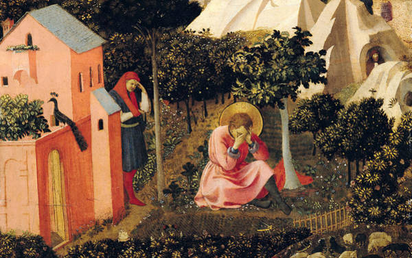 Knees Wall Art - Painting - The Conversion Of Saint Augustine by Fra Angelico