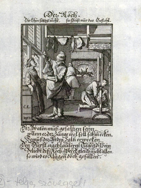 Old Style Drawing - The Cook, Old Master Print, 17th Century by English School