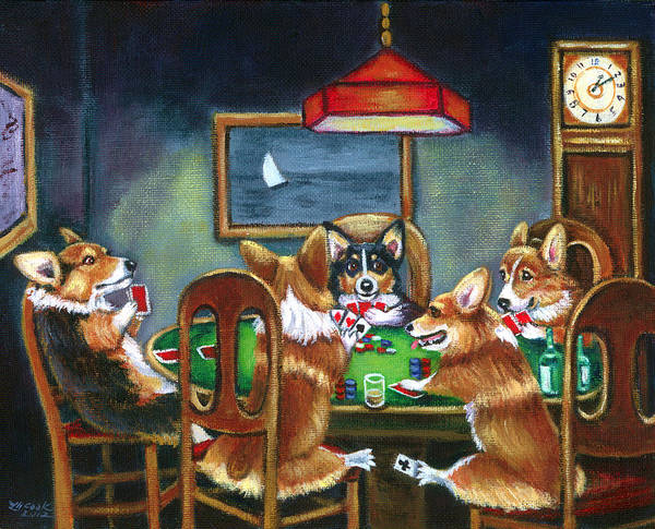 Wall Art - Painting - The Corgi Poker Game by Lyn Cook