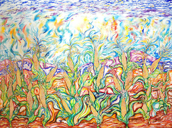 Husk Painting - The Corn Fields by Susan Schiffer