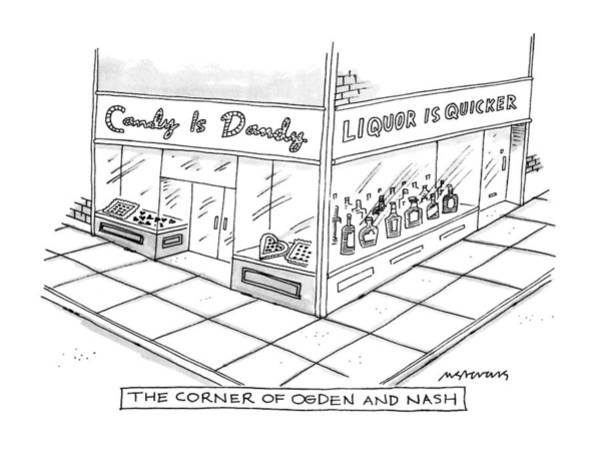 Poet Drawing - The Corner Of Ogden And Nash: by Mick Stevens