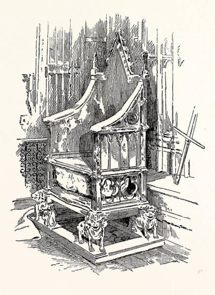 Destiny Drawing - The Coronation Chair And Stone Of Destiny Westminster Abbey by English School