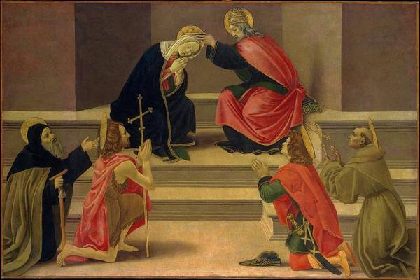 Botticelli Wall Art - Painting - The Coronation Of The Virgin by Follower of Botticelli