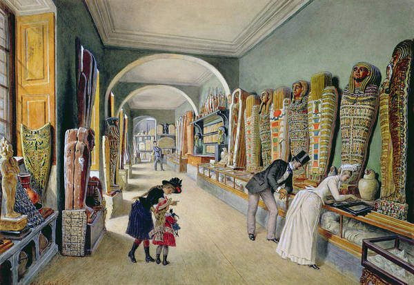 Ancient Egypt Drawing - The Corridor And The Last Cabinet Of The Egyptian Collection In The Ambraser Collection by Carl Goebel