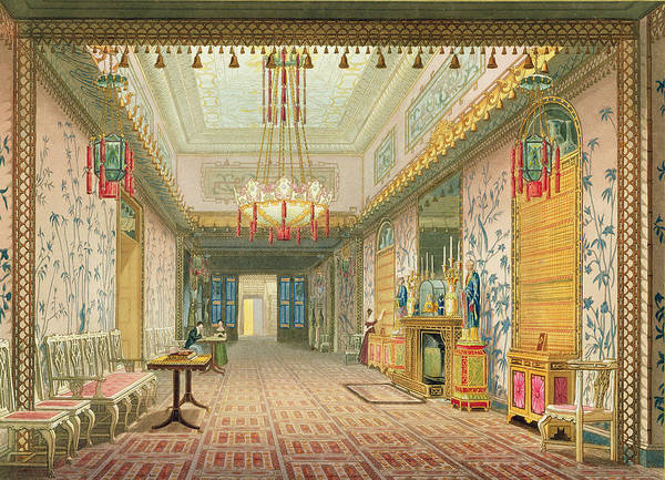 Chinese Lantern Wall Art - Drawing - The Corridor Or Long Gallery by English School