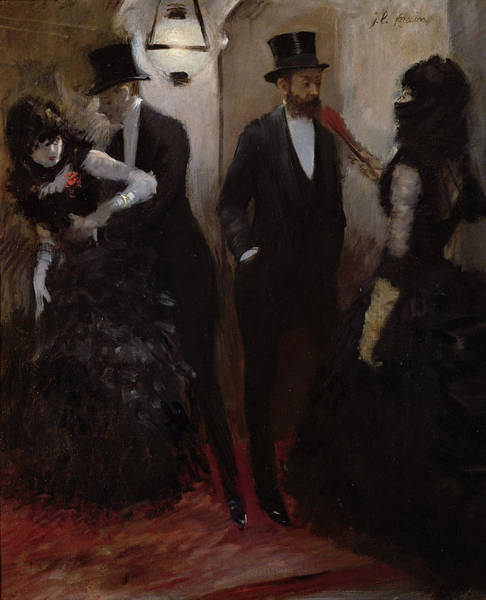 Top Hat Photograph - The Corridors At The Opera, 1885 Oil On Canvas by Jean Louis Forain