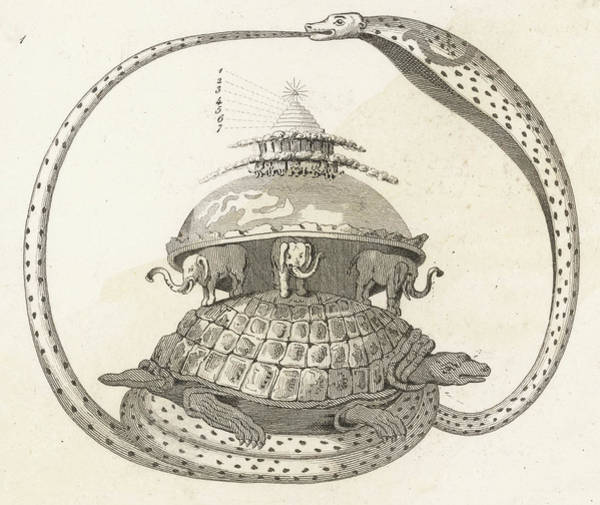 Cosmos Drawing - The Cosmic Turtle by Mary Evans Picture Library