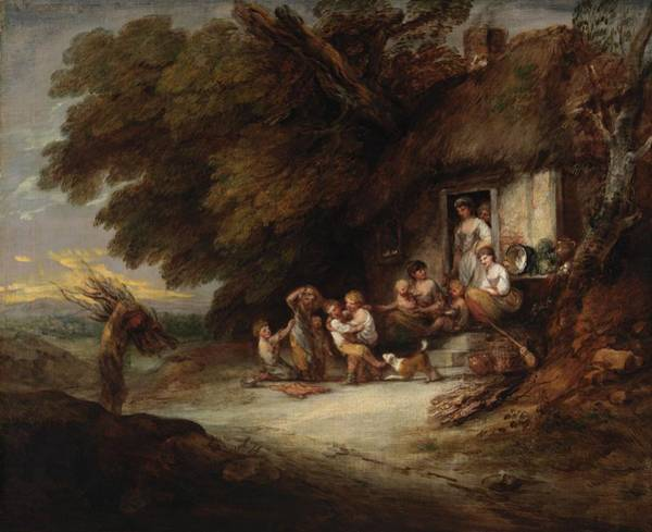 Poverty Wall Art - Photograph - The Cottage Door, C.1777-78 Oil On Canvas by Thomas Gainsborough