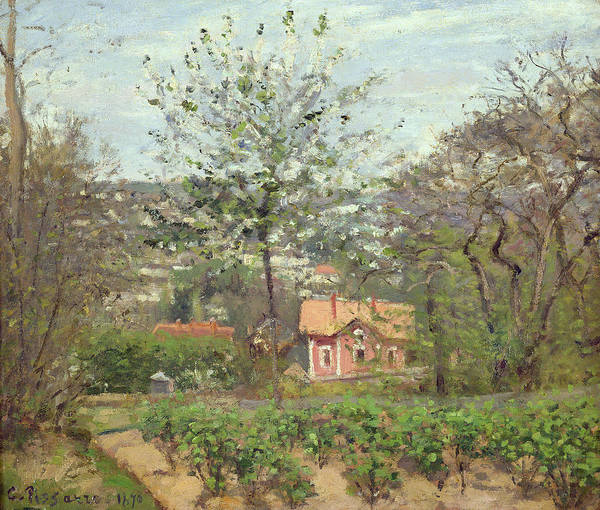Allotment Wall Art - Painting - The Cottage, Or The Pink House - Hamlet Of The Flying Heart, 1870 Oil On Canvas by Camille Pissarro
