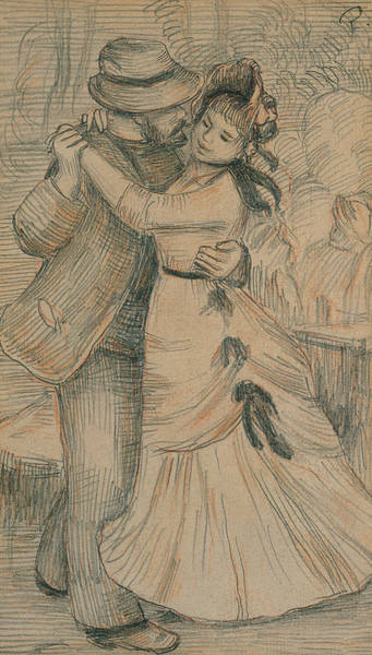 Traditional Dances Drawing - The Country Dance by Pierre Auguste Renoir