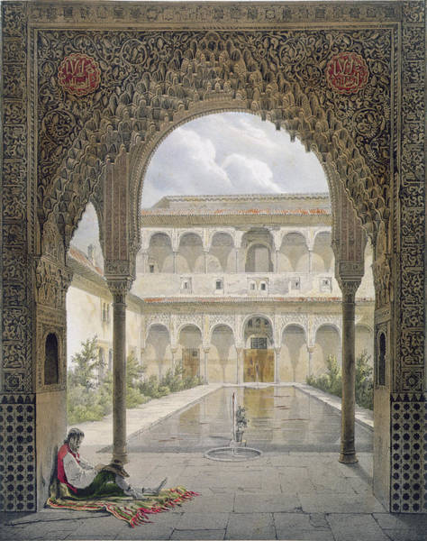 Pool Drawing - The Court Of The Alberca by Leon Auguste Asselineau