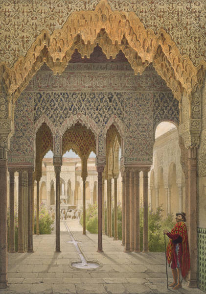 Granada Wall Art - Drawing - The Court Of The Lions by Leon Auguste Asselineau