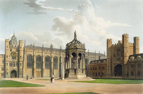 Wall Art - Drawing - The Court Of Trinity College by William Westall