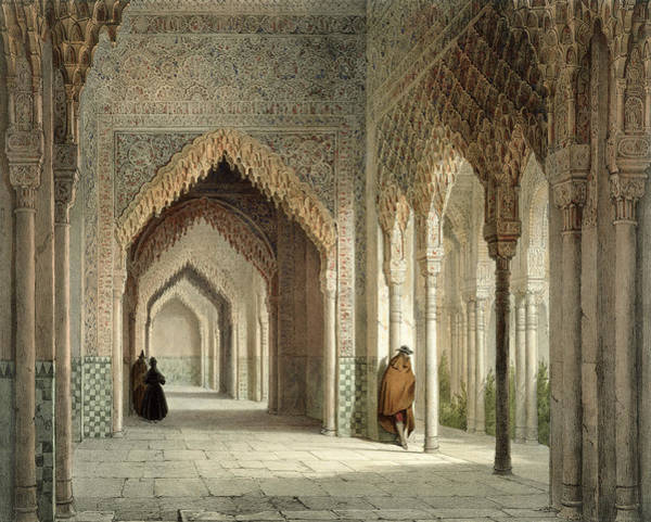 Palace Drawing - The Court Room Of The Alhambra by Leon Auguste Asselineau