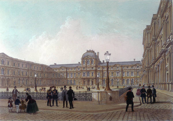 Wall Art - Drawing - The Courtyard Of The Louvre  (where by Mary Evans Picture Library