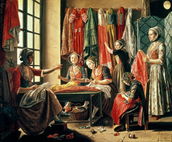Dress Shop Photograph - The Couturiers Workshop, Arles, 1760 Oil On Canvas by Antoine Raspal